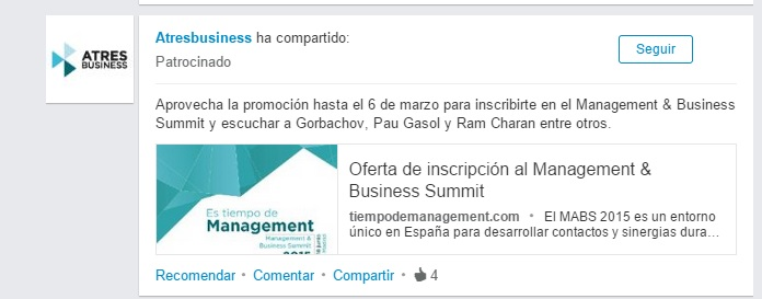post patrocinado en linkedin ads